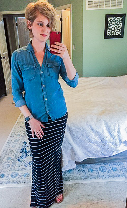Week 2 Reflections Striped Maxi and Chambray