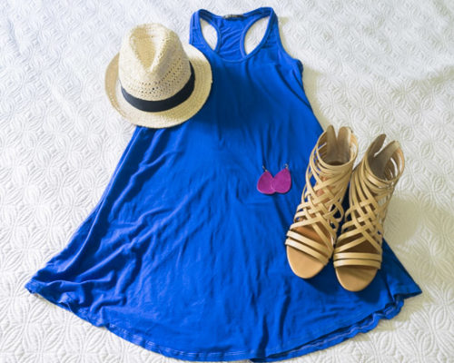 My 10 Item Summer Wardrobe- Blue Dress with Wedges