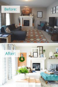 Living Room Reveal Before and After